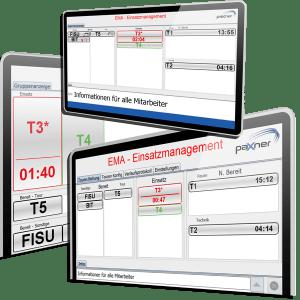 3 Bildschirme mit Abbildungen der von der Firma paxner programmierten Software